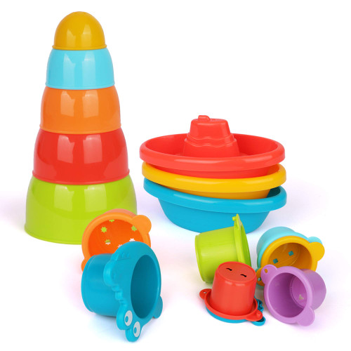 Playkidz Bath Toys Bundle Set - Little Boat Train, Stacking Bowls and Croc Cups for Toddlers- Pack of 16 Stackable Plastic Kids Tugboats and Cute Cups for Bathtub & More Ages 12m+