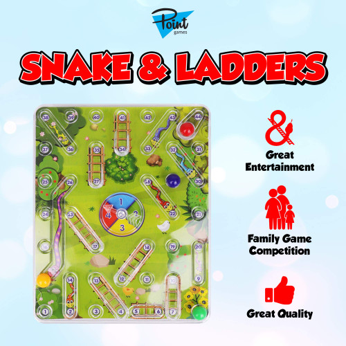 Point Games Snakes and Ladders - 2-4 Players - Mini Classic Board Game with Fun Chute Design - Developmental & Interactive Small Game - Ages 3+