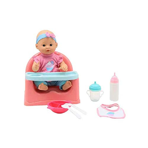 "DREAM COLLECTION 14"" Baby Doll Feeding Set, with Booster Seat and 6 Food Accessories, Great Pretend Play for Toddlers Girls"