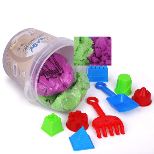 Playkidz Sandmax 2.3LB Bucket - Beach Day Fun Playset with Castle Molds, Tools, and Clingy Moving Sand -Reusable Storage Container - Sensory Activity and Development - Ages 3+
