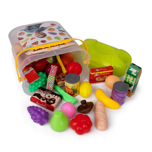 Playkidz 60 Pieces Pretend Play Food Set - Treat Bucket w Storage Bin - Beautiful Toy Food Assortment Kitchen Playset - STEM / STEAM Learning for Kids & Toddlers