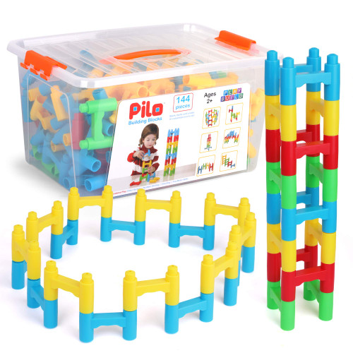 PlayBuild Pilo Building Blocks - H Blocks Bridge Constructor Stacking Toy - Fun Educational Construction Toys - Pillar Arch Aqueducts Build with Easy Plastic Storage Container