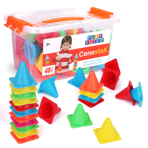 PlayBuild ConestaX Stacking Game - 48 Pcs Cones Balancing Stacking Toy - Fun STEM / STEAM Activity Games for Toddler - Educational Cone Stack Toys with Plastic Storage Container