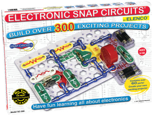 Snap Circuits Classic SC-300 Electronics Exploration Kit | Over 300 Projects | Full Color Project Manual | 60+ Snap Circuits Parts | STEM Educational Toy for Kids 8+,Black,2.3 x 13.6 x 19.3 inches