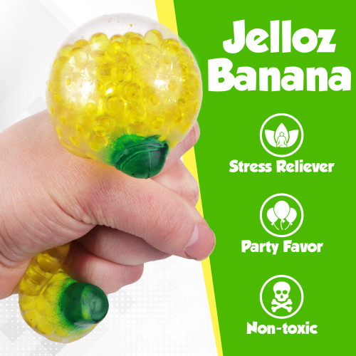 Jelloz Banana Stress Relief Toys 12 Pack - Jelly Beads Banana Shaped Bulk Toys - Stress Reliever Fidget w Bead Balls - Focus Aid for Anxiety, ADHD, Autism and More - Sensory Stimulation Kids Adults