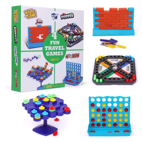 Travel Games 4-in-1 Airplane Travel Essentials, Road Trip Essentials Kids Fun Games, Easy Storage & Travel Friendly, Critical Thinking and Brain Development Skills