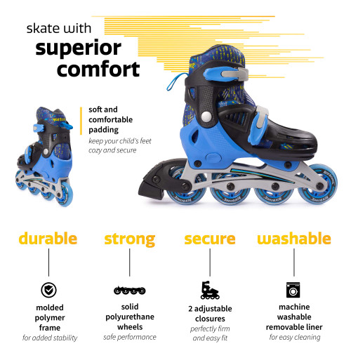 New Bounce Adjustable Inline Skates for Kids - 4 Wheel Blades Roller Skates for Boys, Girls, Teens, and Young Adults Outdoor Roller Skates for Beginners & Advanced | Blue