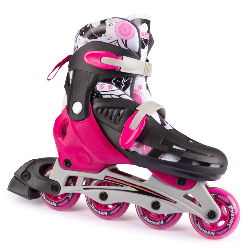 New Bounce Inline Skates for Kids - Adjustable 4 Wheel Blades Roller Skates for Girls, Teens, and Young Adults, Outdoor Roller Skates for Beginners & Advanced-Pink