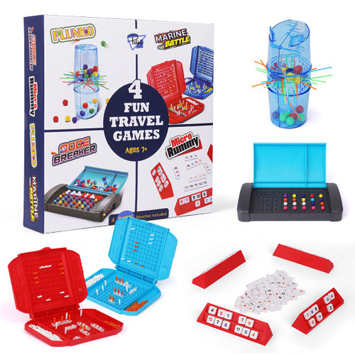 Point Games 4 Fun Travel Games - Board Game Assortment in One Box - Improves Eye-Hand Coordination and Stimulates Strategy and Critical Thinking - Easy Storage and Travel Friendly Tabletop Set Ages 7+