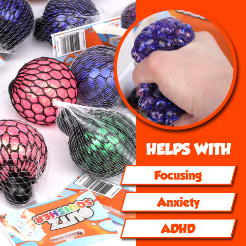 Glitz Squisher Stress Relief Toys 12 Pack, Squishy Ball Shaped w Glitter and Mesh Net Bulk Toys, Sparkly Stress Reliever Fidget, Focus Aid for Anxiety, ADHD, Autism, Sensory Stimulation Kids Adults