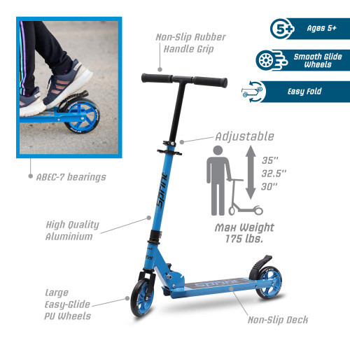 New Bounce Scooter for Kids - Kick Scooter for Ages 5-8 with Adjustable Handlebar - The GoScoot Sprint is Perfect for Children 5+, Girls and Boys - BLUE