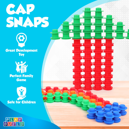 Play Build 200 Piece Cap Snaps Building Connector - Interlocking Plastic Cap Set Toy, STEM Development, Creativity and Educational Children Toys