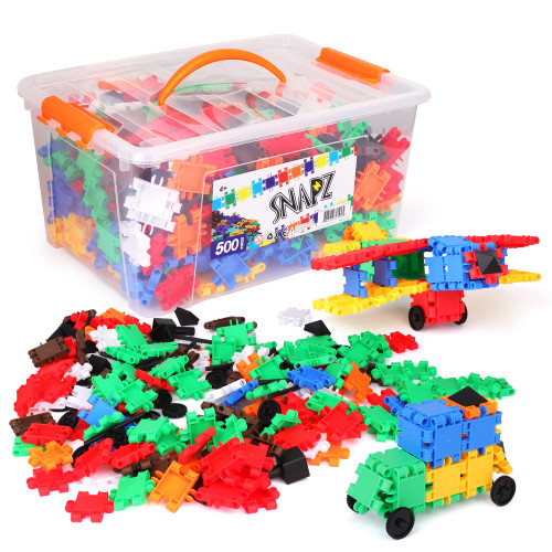 SNAPZ Building Bricks 500 Pcs Connecting Toy - Strong Durable Colorful Block Set w Storage, Interlinking Construction Blocks for Kids - STEM Development, Creativity and Educational Children Toys, 4+
