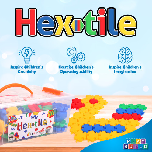 PlayBuild Hextiles, Fun Snaps Connecting Toy, Connecting Blocks for kids. Baby and Toddler Toys, Fine Motor Skills, Play and Learn, Educational STEM Toy, Ages 3+
