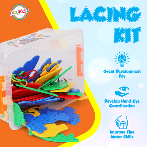 PlayKidz Lacing Kit For Toddlers And Kids. 32 Sewing Cards With Different Shapes And Designs For Occupational Therapy, Improves Fine Motor Skills And Ideal For Kids And Or Adults With Sensory.