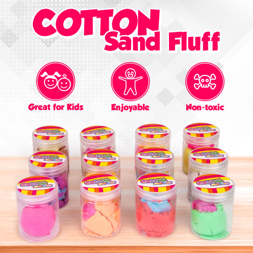 FunFluff Cotton Sand Fluff 12 Pack Putty Toys, Sensory Sand Fluff Stuff. Stress Relief Kids Toy. Kinetic Toys Cloud Slime & Molding Play Therapy Putty Magic Kinect Sand Fidget Anxiety Relief 3+