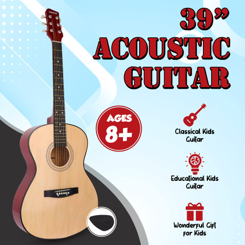 Kidstech Acoustic Guitar for kid and adult alike. Kid's beginner guitar. Junior and teen boys and girls master play guitar. Real pretend play guitar. Kids ages 8+.