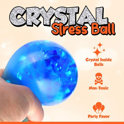 Playkidiz Fun Fluff 12 Pack Crystal Stress Balls, Anxiety Relief Balls, Stress Reliever Toy, Squishy Balls Fidget Toy, Anger Management Toys for Children, Kiddies and Adults to Enjoy and Squeeze, Ages 3+.
