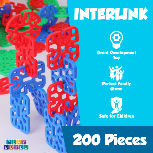 Play Build Interlinks Connector Building Toys, Interlocking Stem Toys for Boys and Girls, Baby and Toddler Toys, Creative Construction Stem Building Toys, Ages 3+