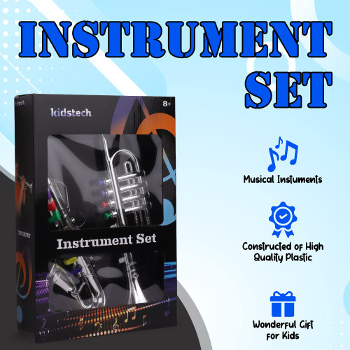 Kidstech Musical Instruments for Kids, Musical Set Includes a Trumpet and Saxophone, Fun Preschool Instruments Musical Toy for Boys and Girls, Ages 3+