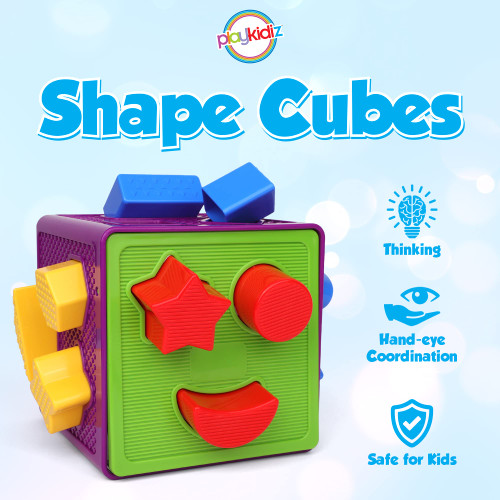 Playkidiz Shape Cube, Toddler and Baby Stem Building Sorting and Matching Activity Cube, Shape Sorting Cube Baby Puzzle with 18 Blocks, Play and Learn