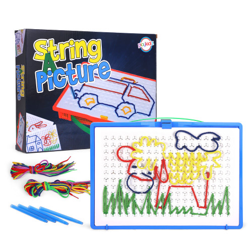 Playkidiz String A Picture Art, Unique Childrens Threading Toy Improves Fine Motor Skills and STEM Learning, Fun Stringing and Lacing Toy for Toddlers and Kids