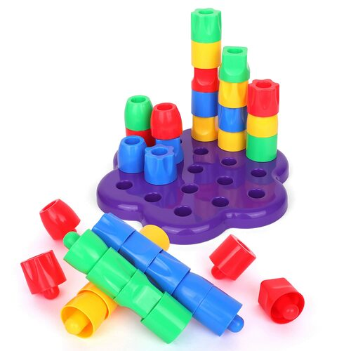 Playkidiz My First Pegs Playset, Large Colored and Fun Shape Stacker Plastic Pegs, Baby and Toddler Peg Board Toys, Play and Learn STEM Toy, Fine Motor Skills, Ages 18m+