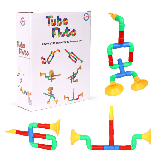 Playkidiz Tubo Fluto Building Pipe Toy, Connector and Interlocking Toy, STEM Building Toy, Preschool Construction Sensory Block Set for Girls and Boys Ages 3+.