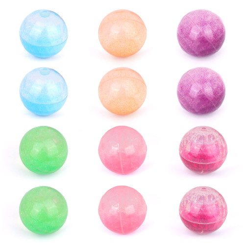 Fun Fluff 12 Pack Sparkling Glitter Bouncing Balls. Squishy, Large, Bouncy Rubber Balls for Kids. kids prizes, Party Favor, Outdoor Toys for Pool, Vending Machine, Birthdays and for the Beach. Age 3+.