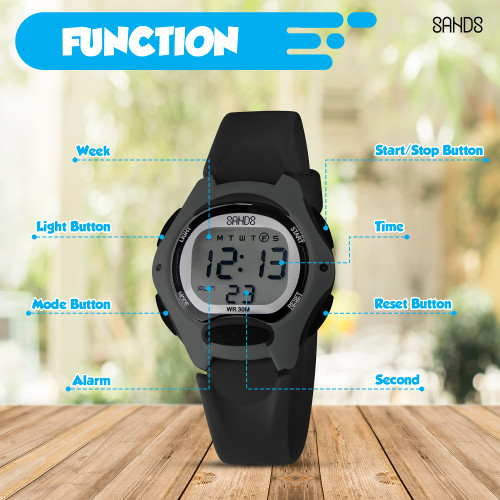 Sands Watch for Kids, Waterproof Fun Features for Kids, Comfortable Band, Luminous Display