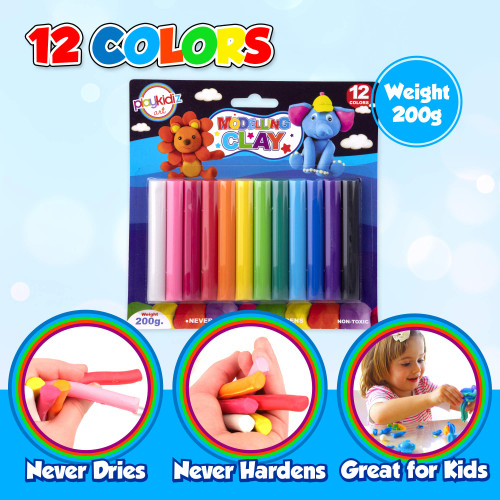 Playkidiz Art Modeling Clay 12 Colors, Beginners Pack, STEM Educational DIY Molding Set, at Home Crafts for Kids