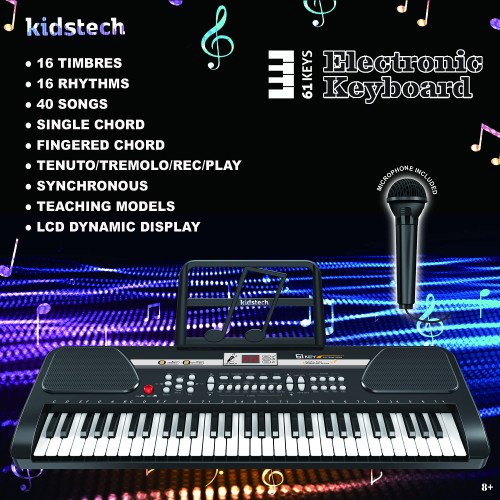 Kidstech 24 Inch, 61 Key Beginner and Practice Electronic Keyboard, Portable with Full Size Keys, Microphone, Note Stand and Cables Included, LCD Display, For Kids Ages 3+.