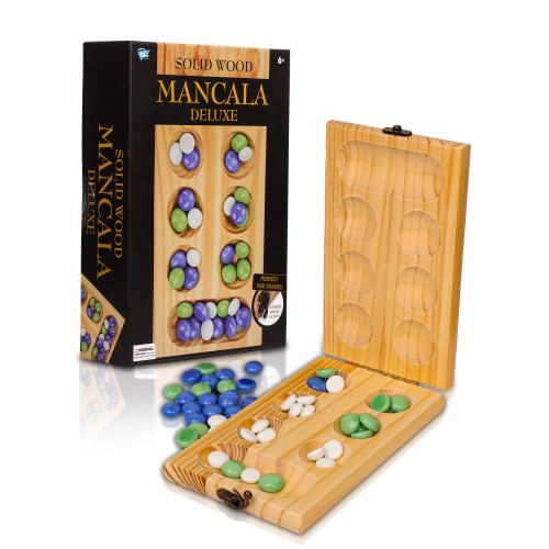 Point Games Solid Wood Deluxe Mancalla - Folding Board Game w Metal Latch and Glass Marbles- Portable Strategy Travel Game