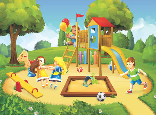 Puzelworx 100 Piece Jigsaw Puzzle Educational Puzzle Family Game Gift for Adults and Kids (Children Playing In Park)