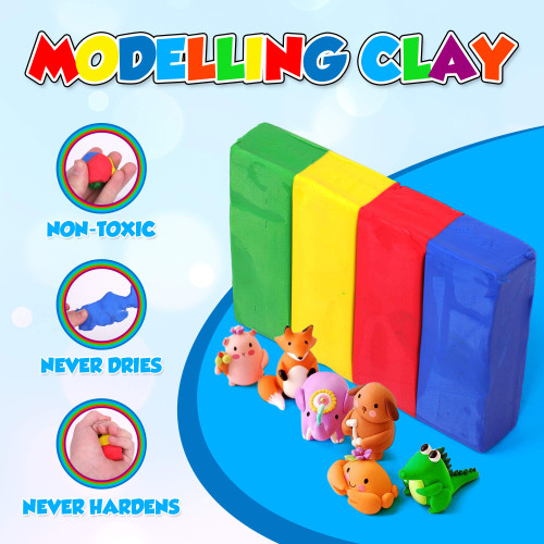 Playkidiz Art Modeling Clay 4 Colors, Beginners Pack, STEM Educational DIY Molding Set, at Home Crafts for Kids