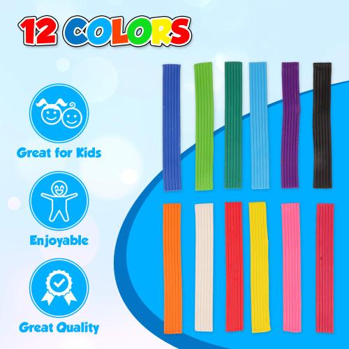 Playkidiz Art Modeling Clay 12 Colors, Beginners Pack 220 Grams, STEM Educational DIY Molding Set, at Home Crafts for Kids