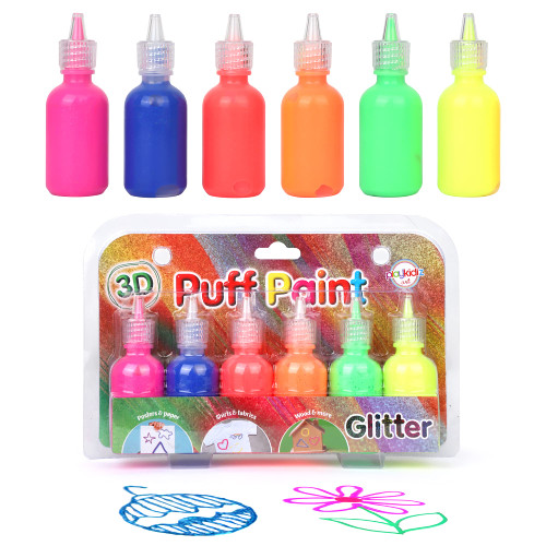 Playkidiz 3-D Art Glitter Puff Paint For Kids, 6 Pack Color Pack Squeeze Paint, Non Toxic Puff Paint Set, Washable Fabric Paint, Classic Colors, Ages 3+.