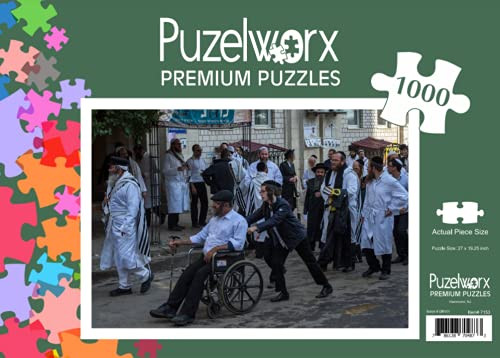 Puzelworx 1000-Piece Entertaining Puzzle, Enhances Organization, Separating and Sorting Skills, Jews in Uman, Ukraine Puzzle, Frame Them For Later Decorative Use and Enjoy Them Forever, Great For Gifts, Rainy Days or Everyday Use.