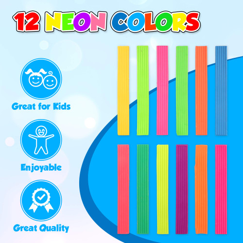 Playkidiz Art Modeling Clay 12 Neon Colors, Beginners Pack 220 Grams, STEM Educational DIY Molding Set, at Home Crafts for Kids