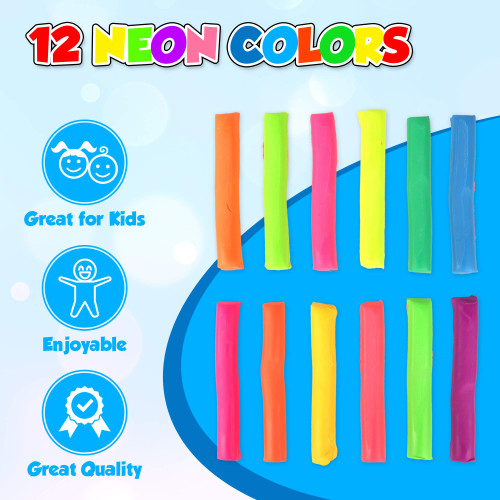 Playkidiz Art Modeling Clay 12 Neon Colors, Beginners Pack 200 Grams, STEM Educational DIY Molding Set, at Home Crafts for Kids