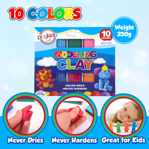 Playkidiz Art Modeling Clay 10 Colors, Beginners Pack, STEM Educational DIY Molding Set, at Home Crafts for Kids
