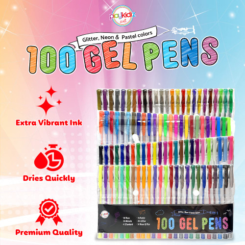 Playkidiz Gel Pens, Fine Point Colored Pens Great for Adult Coloring Book, Glitter neon & Pastel Colors 100 Pack, Journaling, Crafting, Doodling, Drawing Fun