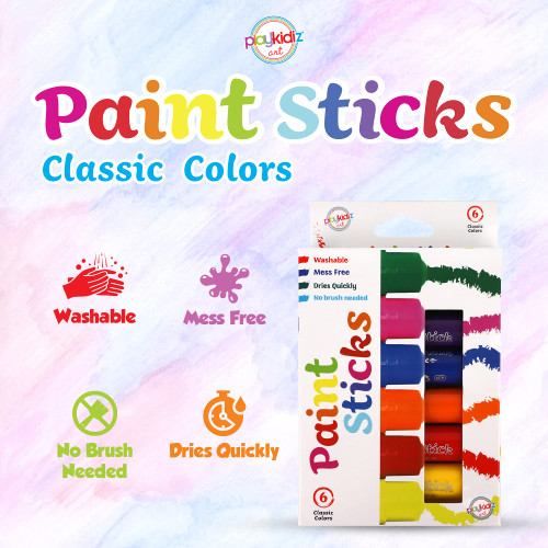 Playkidiz Paint Sticks, 6 Pack, Classic Colors, Twistable Crayon Paint Sticks, Mess-Free Tempera & Poster Paint, Quick Drying, Great Birthday Gift, Ages 3+