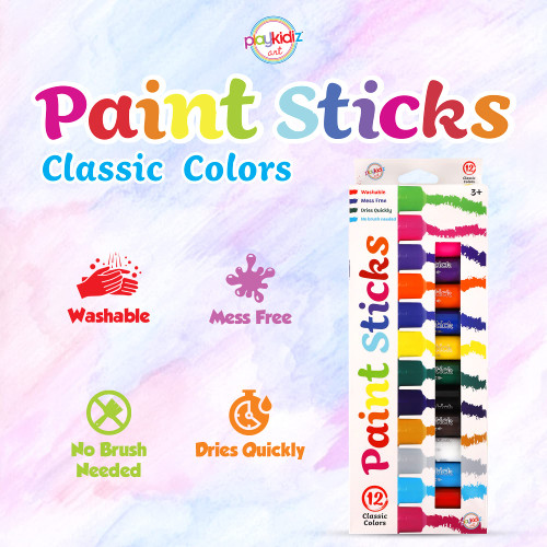 Playkidiz Paint Sticks, 12 Pack, Classic Colors, Twistable Crayon Paint Sticks, Mess-Free Tempera & Poster Paint, Quick Drying, Great Birthday Gift, Ages 3+