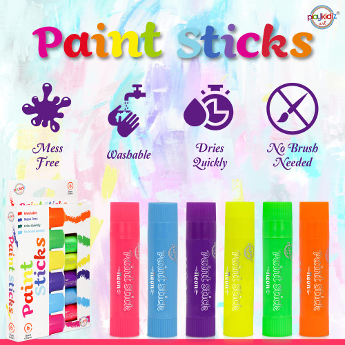 Playkidiz Paint Sticks, 6 Pack, Neon Colors, Twistable Crayon Paint Sticks, Mess-Free Tempera & Poster Paint, Quick Drying, Great Birthday Gift, Ages 3+