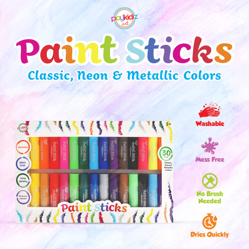 Playkidiz Paint Sticks, 30 Pack Bulk Set, Classic, Neon & Metallic Colors, Twistable Crayon Paint Sticks, Mess-Free Tempera & Poster Paint, Quick Drying, Great Birthday Gift, Ages 3+