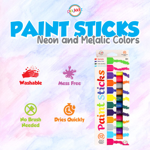 Playkidiz Paint Sticks, 12 Pack, Neon & Metallic Colors, Twistable Crayon Paint Sticks, Mess-Free Tempera & Poster Paint, Quick Drying, Great Birthday Gift, Ages 3+