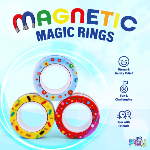 Go Play Magnetic Magic Fidget Toy, 3 Pack Stress Relief Rings, Therapy Magnetic Finger Toy, Great for Kids with ADHD.
