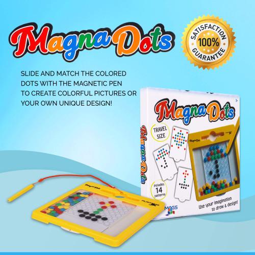 Playmags Magnetic Board for Kids - Magnetic Doodle Dots Board with Magnetic Pen - 8x8 Magna Doodle with Kids Safe Magnets - Kids & Toddler Travel Toy