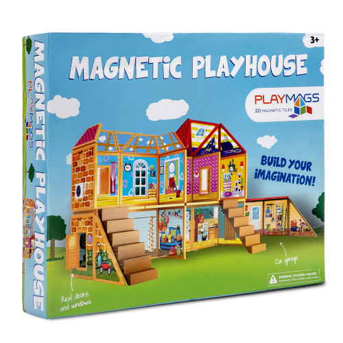 Playmags Magnetic Building Toy, Playhouse Building Set, 48 Magnetic Tiles, Play and Build Little Pretend Playhouse for Kids.